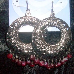 Dark Silvertone and Garnet Colored Beaded Dangly P